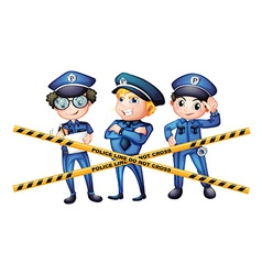 Three policemen at the crime scene vector