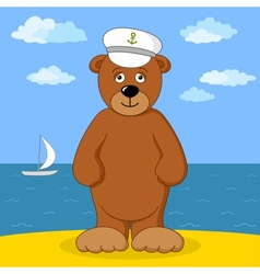 Teddy bear captain on sea coast vector