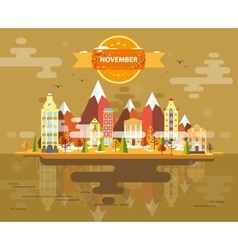 Autumn landscape Small town vector image