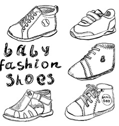 Baby fashion shoes set sketch handdrawn isolated vector image vector image