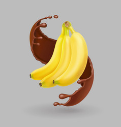 banana in chocolate splash realistic fruit vector image