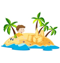 Boy having fun on the island vector image vector image