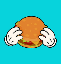 burger with holding hands vector image vector image