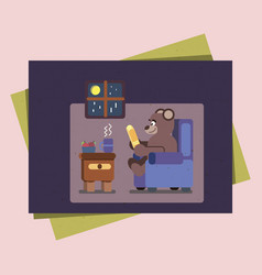 Cartoon brown bear at home reading book vector