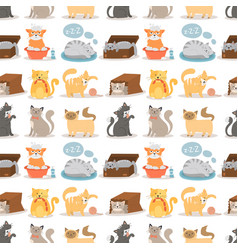 cat cute animal funny seamless vector image