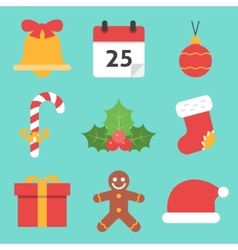 Christmas Icons Flat vector image vector image