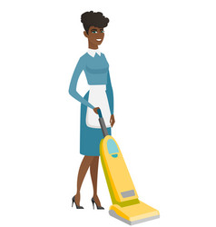 cleaner cleaning floor with a vacuum cleaner vector image vector image