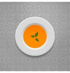 Cream soup in pumpkin design background vector image