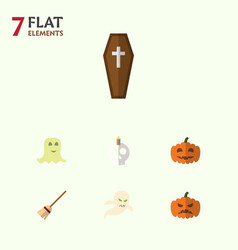 Flat icon halloween set of broom gourd ghost and vector