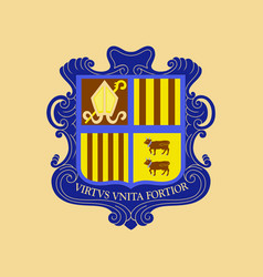 flat icons on theme coat of arms andorra vector image