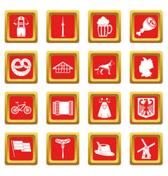 Germany icons set red vector