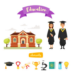 graduation characters and icons vector image vector image