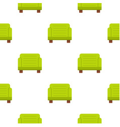 Green armchair pattern flat vector