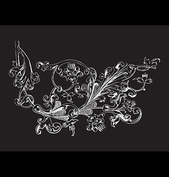 Hand drawn of twig with flowers and leaves baroque vector