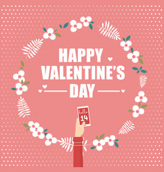 Hand holding smartphone for valentines day vector