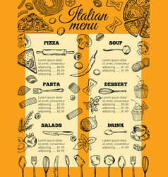 italian food menu of different pasta and pizza vector image vector image