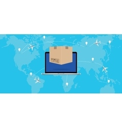 online delivery concept product laptop background vector image
