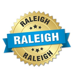 Raleigh round golden badge with blue ribbon vector