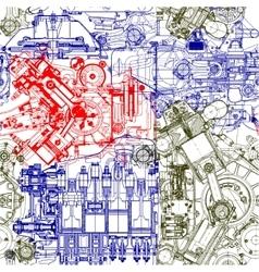 Seamless drawing motors vector image vector image