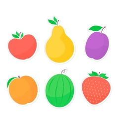 Set of fruit stickers vector image vector image