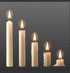 set of realistic white burning candles vector image vector image