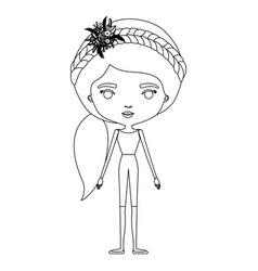 Silhouette caricature skinny woman in clothes with vector