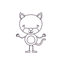 Sketch contour caricature of cute kitten vector