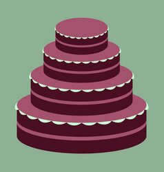 Sweet dessert in flat design wedding cake vector