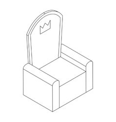 Throne with crown icon isometric 3d vector image