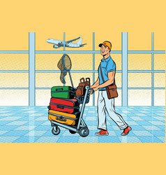 traveller tourist with luggage at the airport vector image