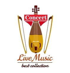 Violin with bows concert live music emblem vector