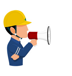 worker holds a megaphone vector image vector image