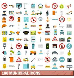 100 municipal icons set flat style vector image vector image