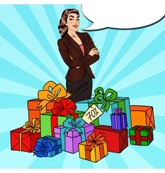 Pop Art Happy Woman with Huge Gift Boxes vector image