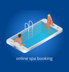 Online spa booking concept guests can book online vector