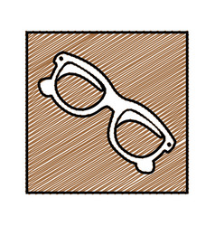 Color pencil drawing square frame with sunglasses vector
