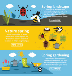 Spring nature banner horizontal set flat style vector