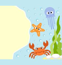 Background sea animals cartoon card vector