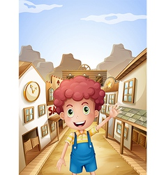 A young boy in the middle of the saloon bars vector