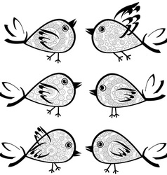 Set of patterned birds vector