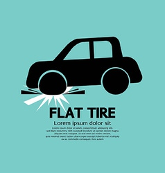 Flat tire car black graphic vector