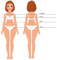Woman body full length front and back vector