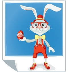 Hipster easter rabbit cartoon vector