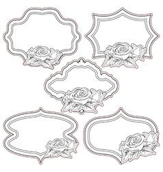 Set of vintage frames with roses isolated on vector