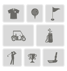 set of monochrome with golf icons vector image