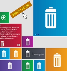 The trash icon sign buttons modern interface vector