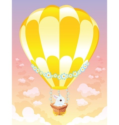 Hot air balloon with white bunny vector