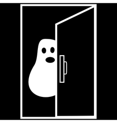 Funny ghost halloween nightmare behind the door vector