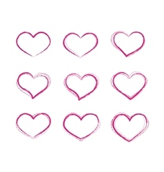 Retro scribble grunge heart symbols set vector