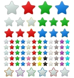 Color metallic rounded star button set vector